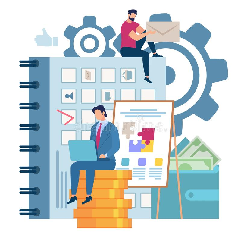 Bright Banner Effective Work with Notebook Flat. Man in Suit Sitting on Gold Coins. Effective Time Planning Makes Profit. Poster Guy is Sitting on Top Calendar royalty free illustration