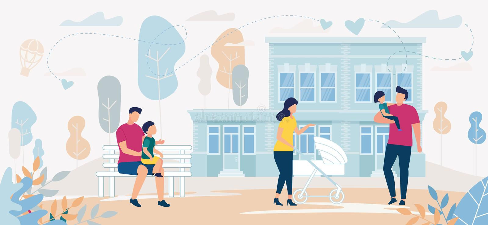 Bright Banner Family Spend Time Together Outdoor. Mom with Pram for Walk. Father Holds Child. Man with  Boy are Sitting on Bench. Parents and Children on vector illustration