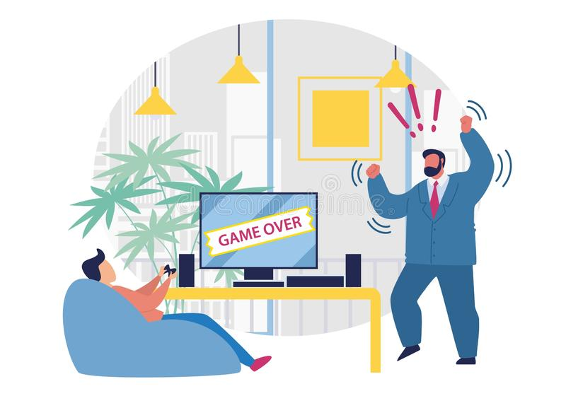 Bright Banner Game Over is Written on Screen. Guy is Sitting on Couch and Playing Video Game. Boss in Suit is Angry at Subordinate. Vector Illustration. On royalty free illustration