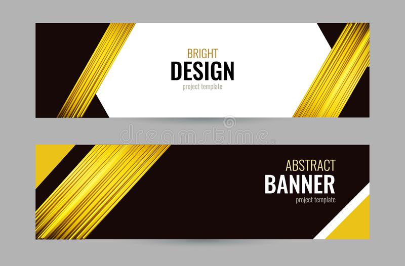 Bright banner with golden strips on dark background. Set horizontal banners with empty place for text. Abstract vector stock illustration