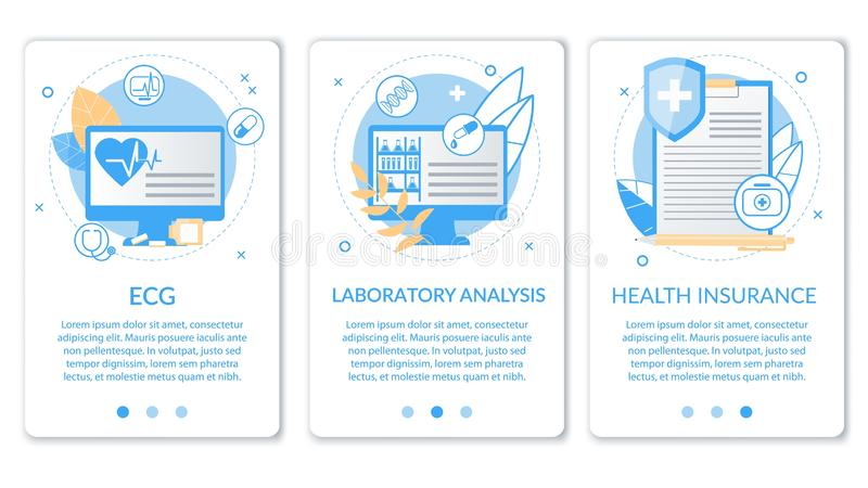 Bright Banner Inscription Laboratory Analysis. Information Flyer is Written Ecg. Set Poster Health Insurance Lettering. Modern Equipment for Medical Clinic or royalty free illustration