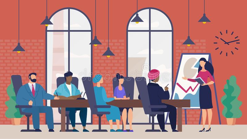 Bright Banner Progress Business Report, Cartoon. Head Listens to Presentation Employee at Meeting Shareholders and Partners Company. Woman is Using Chart to vector illustration