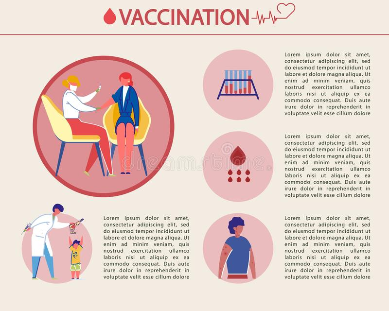Bright Banner Vaccination is Written, Infographic. vector illustration