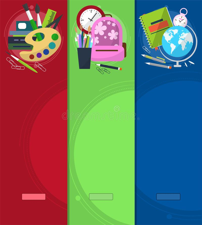 Bright banners back to school with schoolbag, globe, books and stationery with place for your text. vector illustration