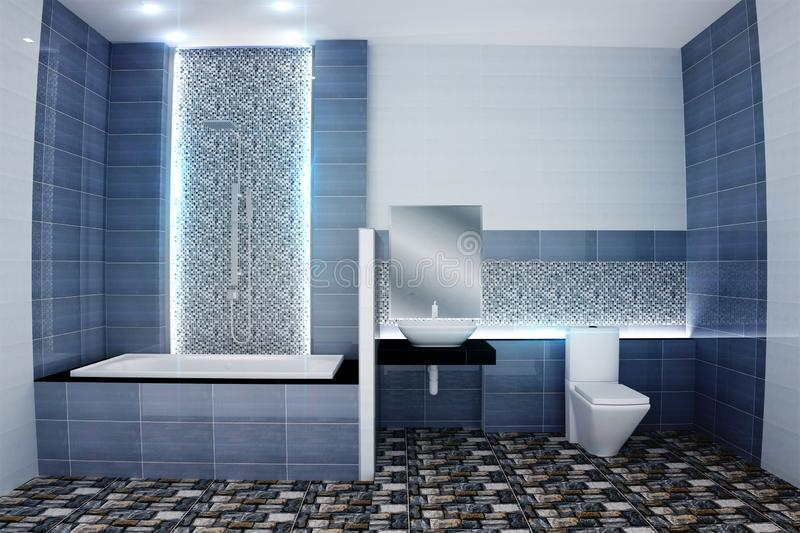 Bright bathroom Design tiles blue modern style. 3D rendering. Mock up Bright bathroom Design tiles blue modern style. 3D rendering stock illustration