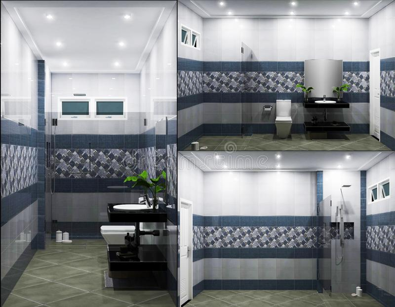 Bright bathroom Design tiles blue modern style. 3D rendering. Mock up Bright bathroom Design tiles blue modern style. 3D rendering vector illustration