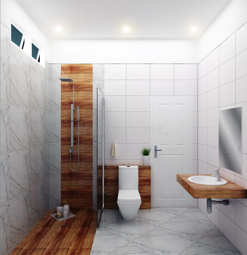Bright bathroom Design tiles white modern style. 3D rendering. Mock up Bright bathroom Design tiles white modern style. 3D rendering stock illustration