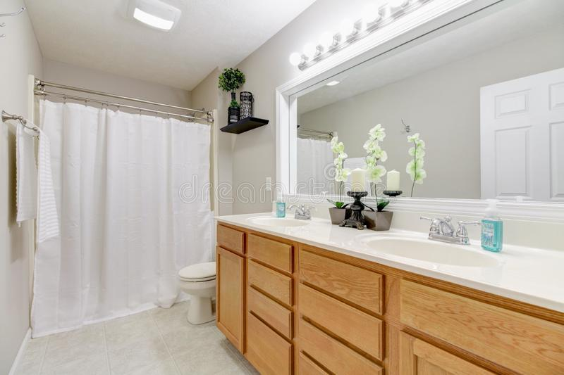 Bright bathroom with double vanity royalty free stock images