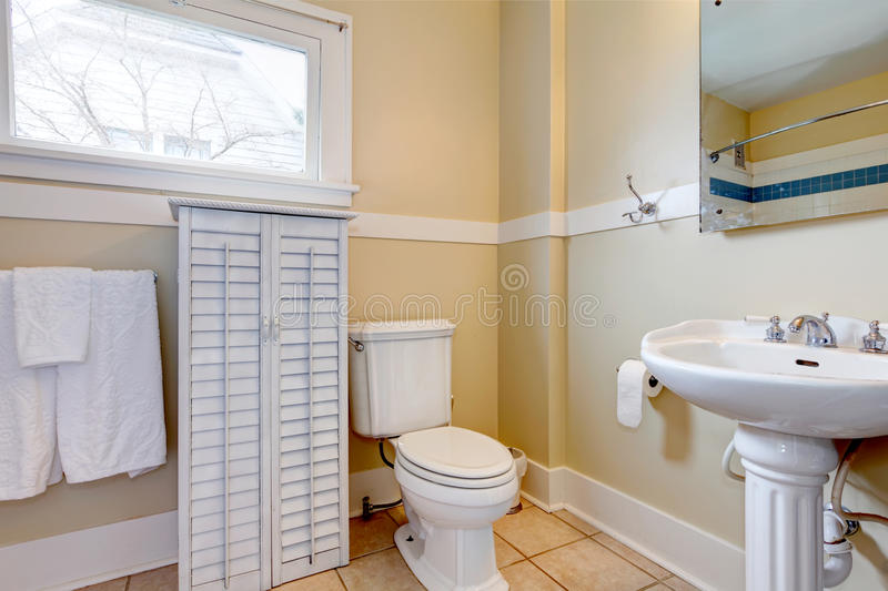 Bright Bathroom With White Wood Cabinet Stock Photography