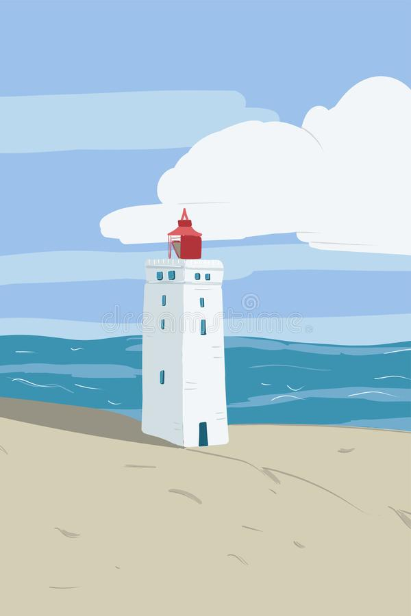 Bright beach sand dunes with the famous danish landmark lighthouse with blue sky background. Rubjerg Knude Lighthouse, Lønstrup royalty free stock images
