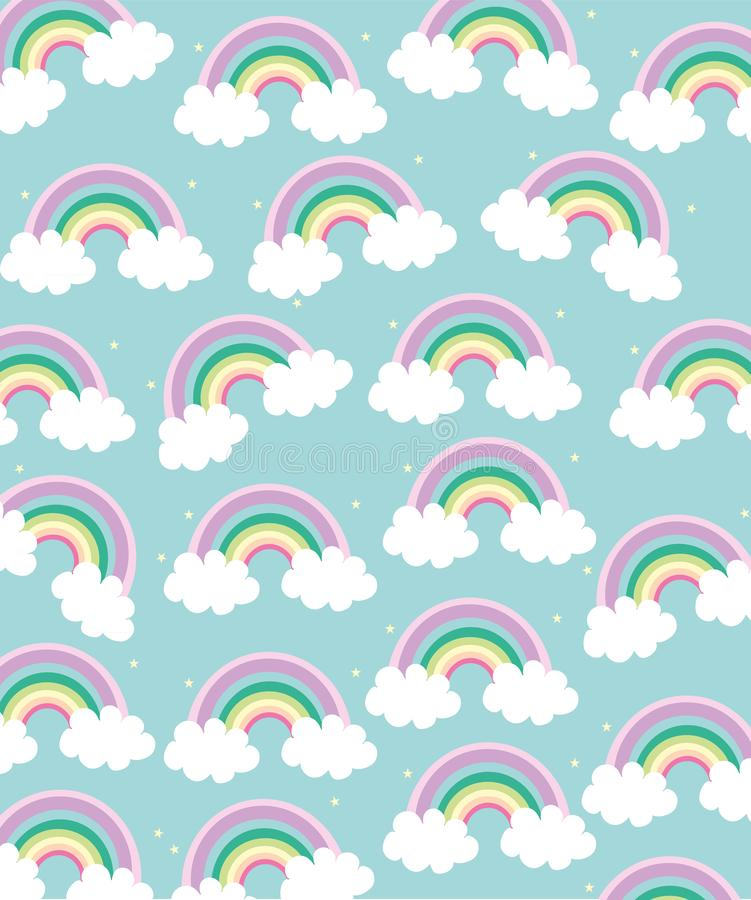 Bright beautiful background with a rainbow stock illustration