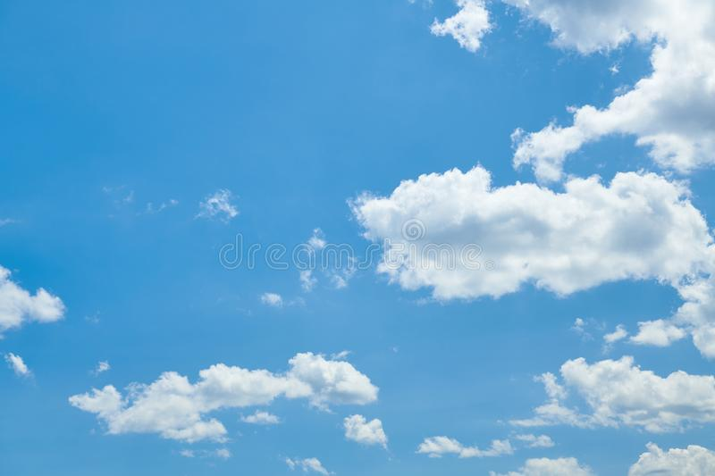 Bright beautiful blue sky with clouds for background or texture stock photo