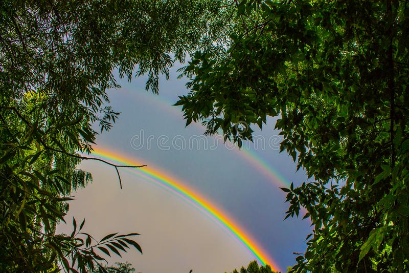 Bright double rainbow in a stormy sky. Bright beautiful double rainbow on a dark stormy sky with clouds framed by green trees stock photo
