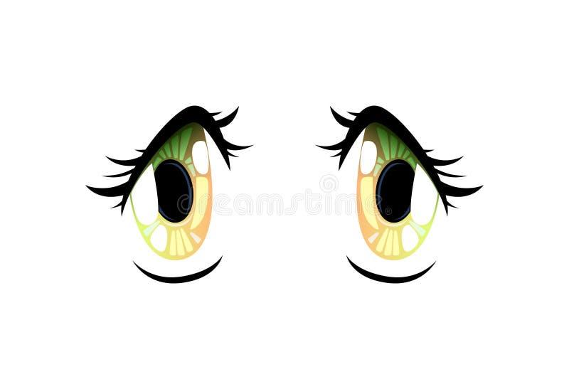 Bright Beautiful Eyes with Light Reflections Manga Japanese Style Vector Illustration. On White Background royalty free illustration