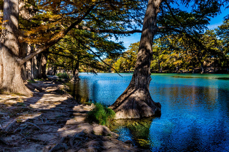 Bright Beautiful Fall Foliage on the Crystal Clear Frio River. Sea-blue waters of the Frio River in Garland State Park, Texas stock image