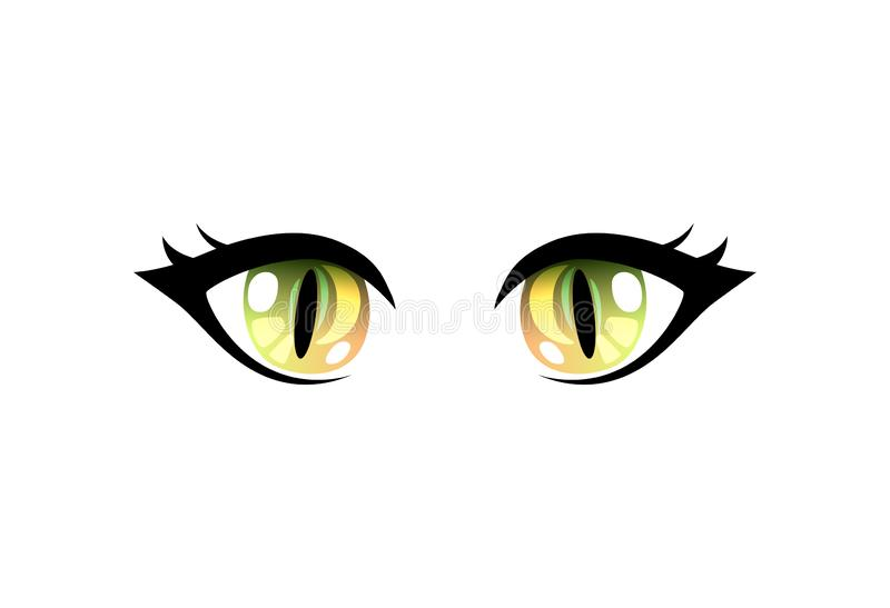 Bright Beautiful Green Eyes with Light Reflections Manga Japanese Style Vector Illustration. On White Background royalty free illustration