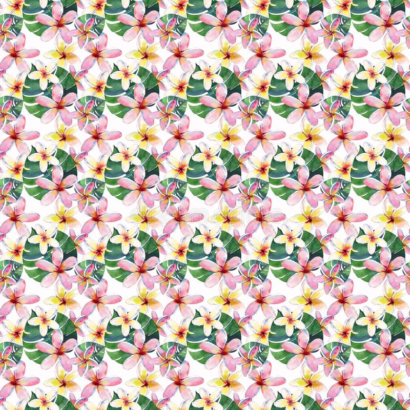Bright beautiful green floral herbal tropical lovely hawaii cute multicolor summer pattern of a tropical flowers vector illustration