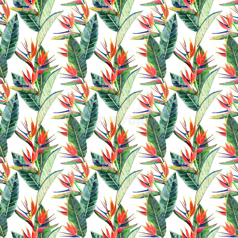 Bright beautiful green floral herbal tropical lovely hawaii cute multicolor summer pattern of a tropical yellow flowers on a steak. With green palm leaves vector illustration