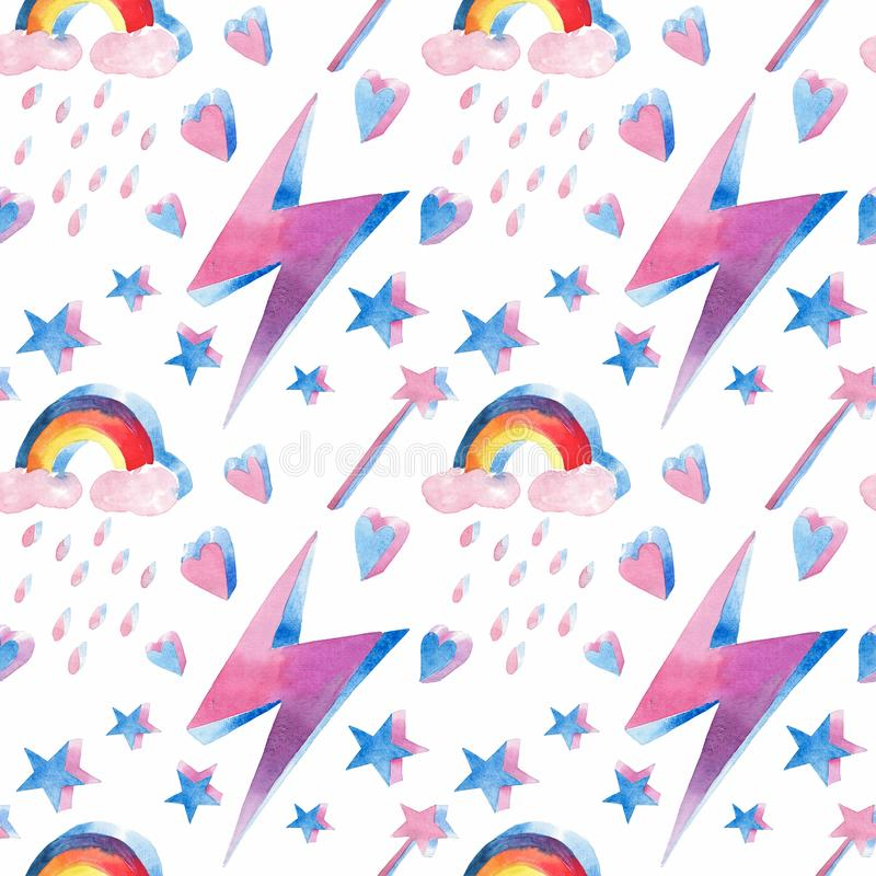 Bright beautiful lovely cute fairy magical colorful pattern of magic elements: lightning, rainbow, magic wand, hearts, stars water. Color hand illustration royalty free illustration