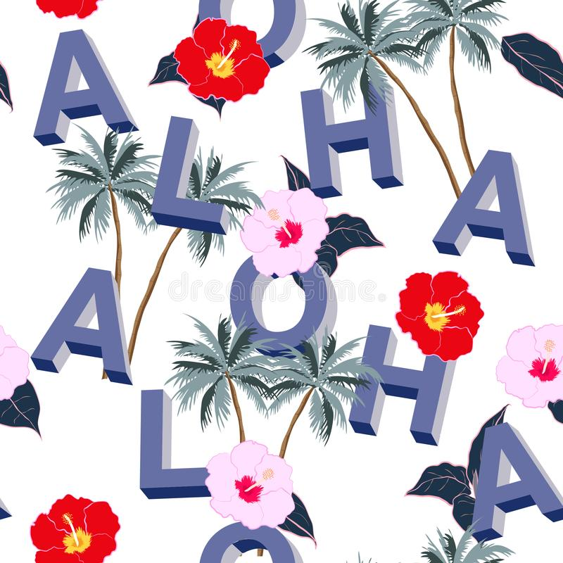 A bright Beautiful seamless 3D typo ALOHA mix with summer motiv royalty free illustration