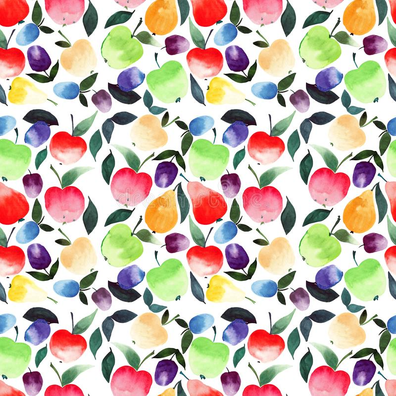 Bright beautiful summer juicy pears apples plums orange green red violet and yellow colors with green leaves pattern watercolor. Hand illustration stock illustration