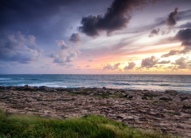 Bright beautiful sunset on the sea, natural background and texture, wallpaper stock image