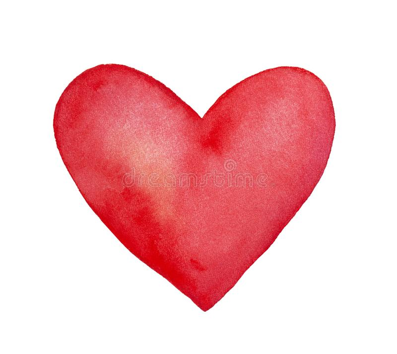 Deep red watercolor heart. Bright and beautiful. Symbol of love, compassion, sympathy, devotion, feelings, truth and honesty. Hand drawn water color graphic stock images