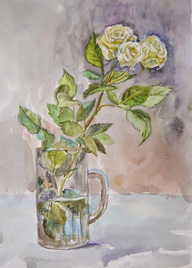 Bright beautiful white roses painted with watercolor royalty free stock photos