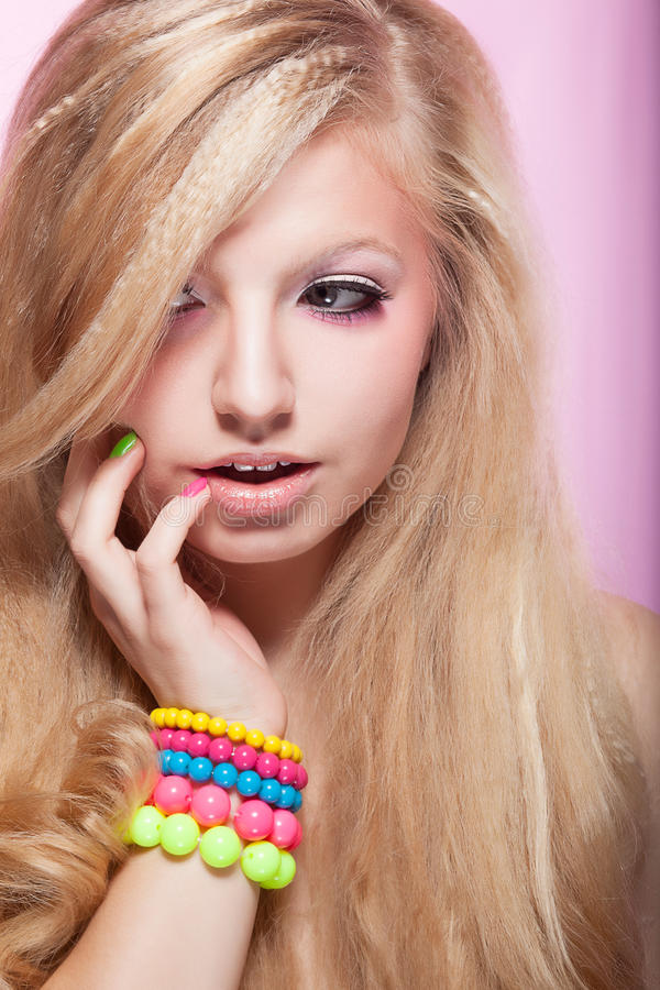 Download Bright Beauty Girl With Colorful Bracelet Stock Photo - Image: 28130486