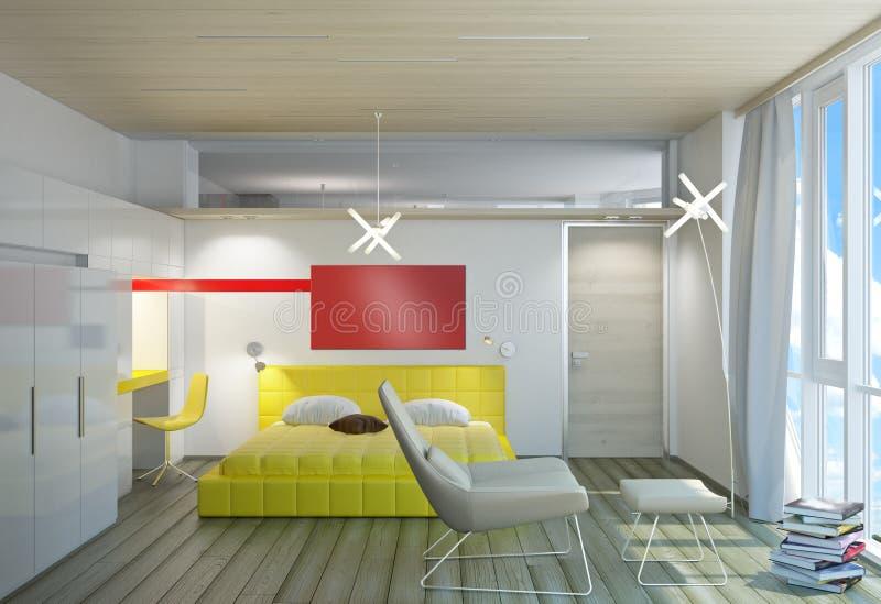 Download Bright bedroom stock illustration. Image of window, floor - 26250208