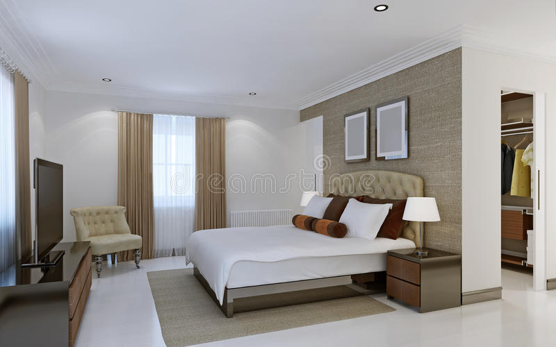 Bright bedroom with dressing room stock photo