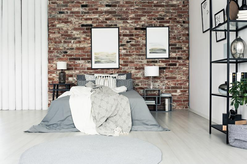 Download Simple Bedroom With Brick Wall Stock Photo   Image Of Pillows,  King: 105469782
