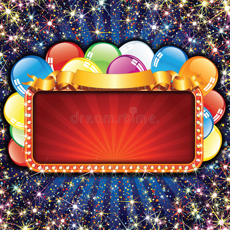 Bright Billboard with Balloons. Greeting Card Template. Advertising Sign for Celebrating and Entertainment Text, Design royalty free illustration