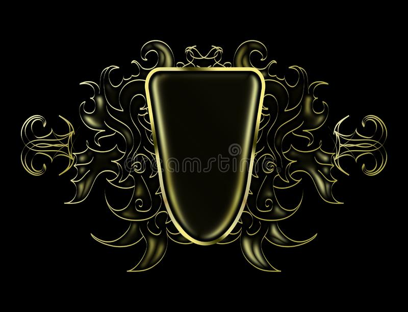 Bright black and gold abstract pattern to place the logo vector illustration