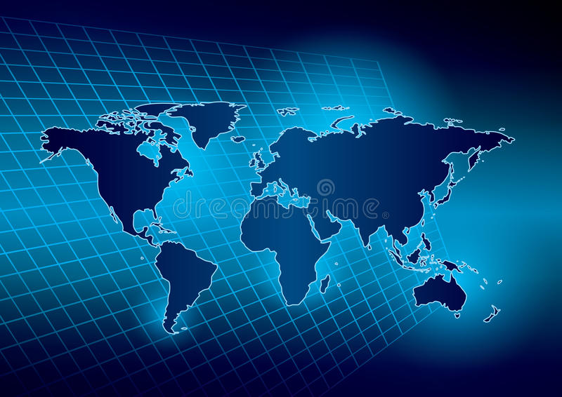 Bright blue background with map of the world - eps