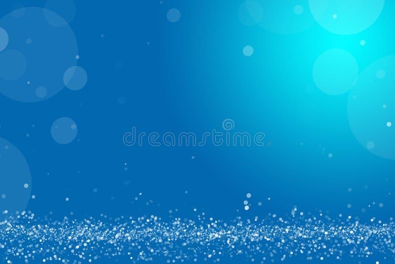 Bright blue bokeh glitter background overlay. Backlit dust particals. royalty free illustration