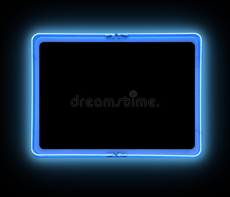 Bright Blue Border Neon Sign Royalty Free Stock Photos