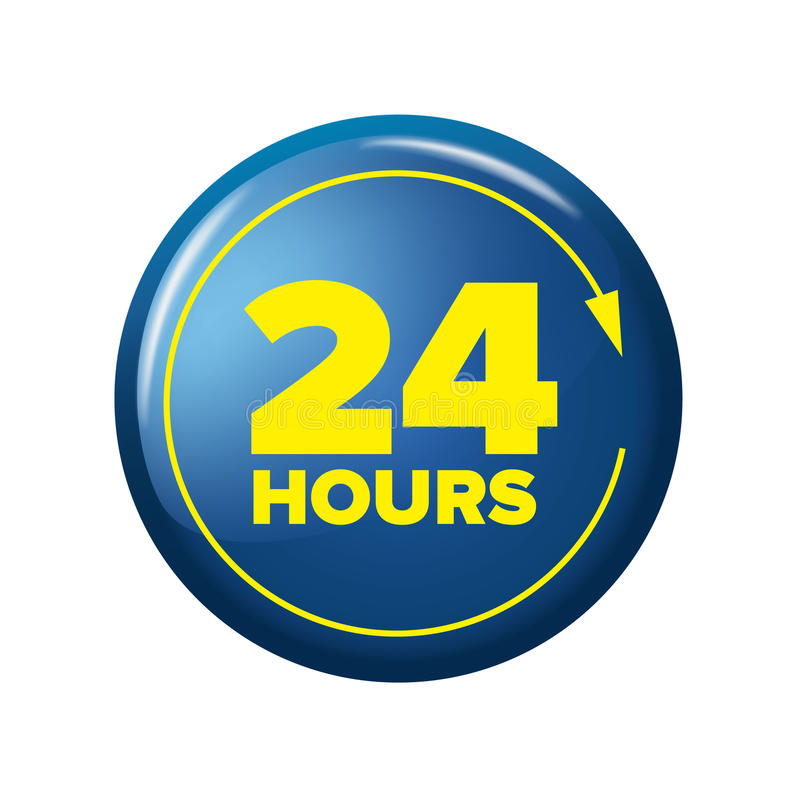 Bright blue button with words `24 hours` and arrow. Work time circle label for posters and banners. Day-and-night open tag. Design element on white background royalty free illustration