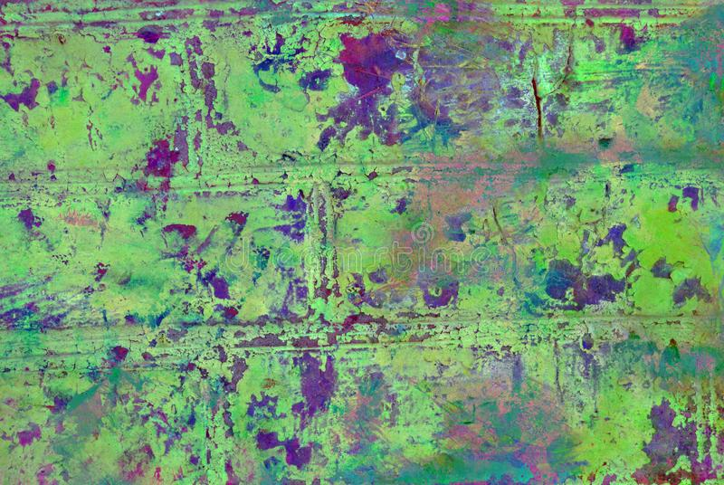 Mixed media artwork, abstract colorful artistic painted layer in green color palette and purple splashes on grunge brick wall vector illustration