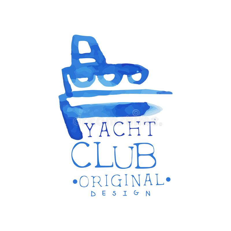 Club Corporate Travel: Bright Blue Emblem For Yacht Club. Concept Of Summer