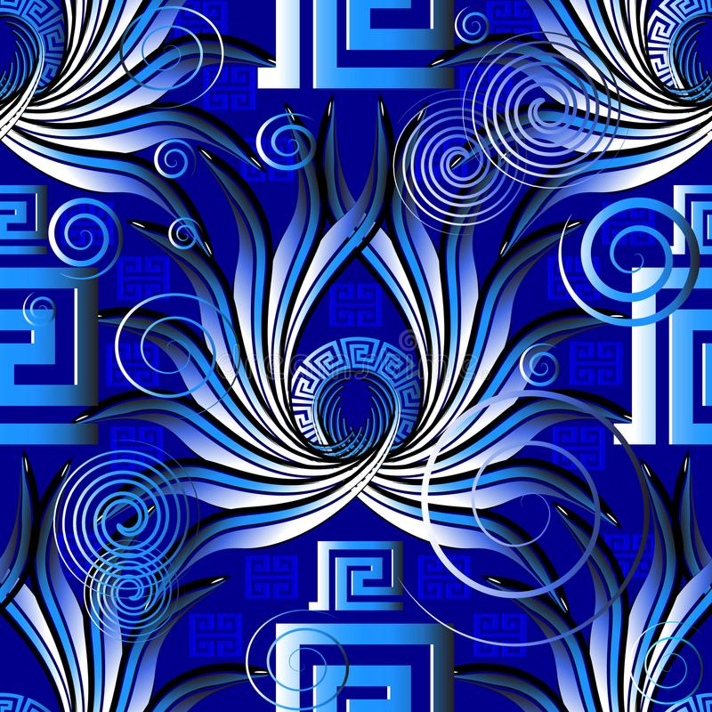 Bright blue greek abstract vector seamless pattern. Modern ornamental patterned geometric 3d background. Circles, squares, swirl stock illustration