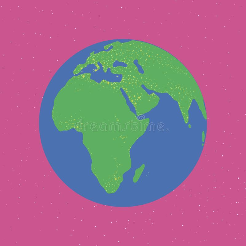 Bright blue and green planet glowing continents Eurasia africa light illumination earth in bright pink space print fashion fun chi. Ldren cute stock illustration