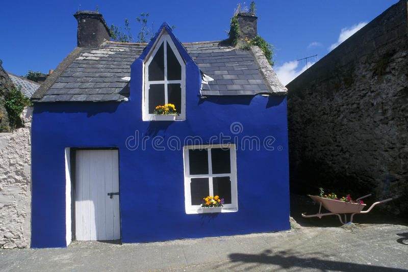 Bright blue house in Ardgroom Village, Cork, Ireland stock photos