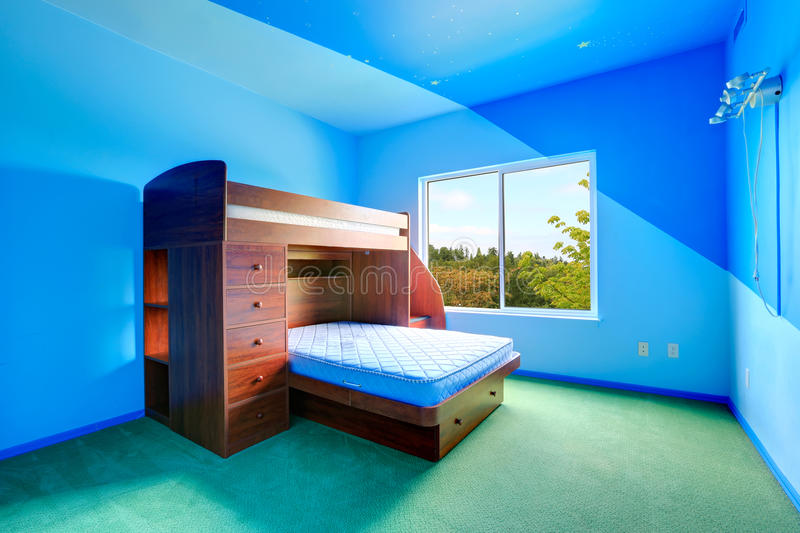 Download Bright Blue Kids Room With Loft Bed Stock Photo   Image Of Clean,  Carpet