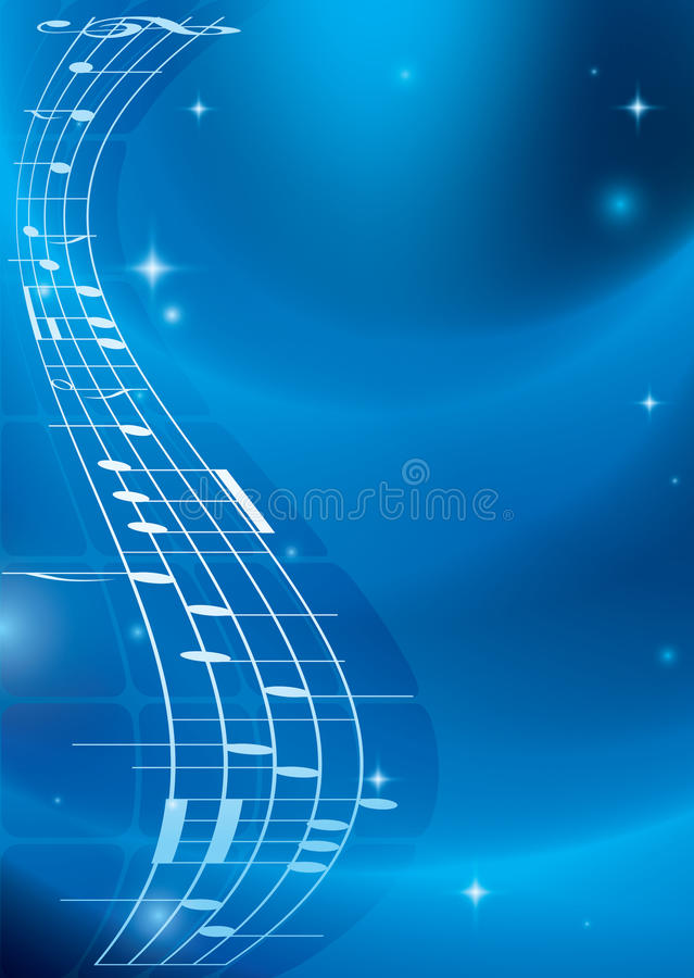 Bright blue music vector background with gradient royalty free illustration