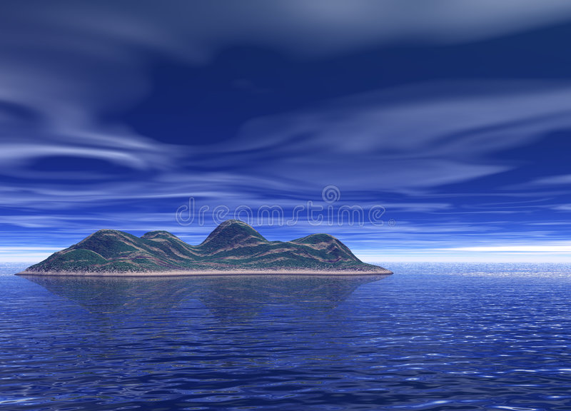 Bright Blue Ocean Island Scenery. Deep and Bright Blue Ocean Island Scenery Land Mountain in Distance royalty free illustration
