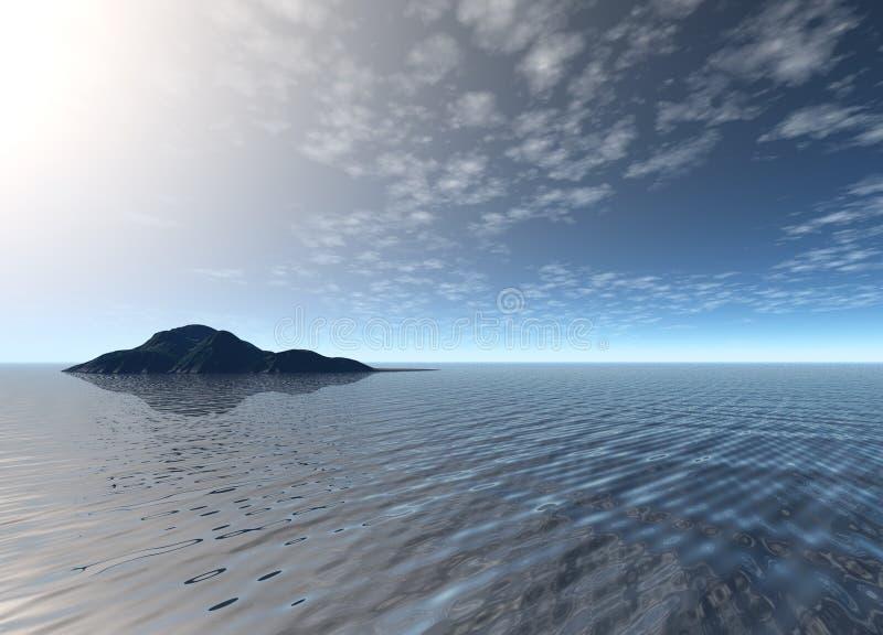 Bright Blue Ocean Island Scenery. Deep and Bright Blue Ocean Island Scenery Land Mountain in Distance vector illustration