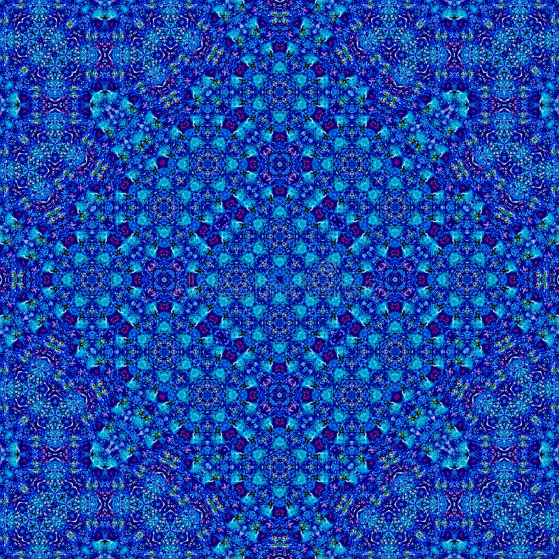 Bright blue oriental mosaic ornament with effect of cornflower vector illustration
