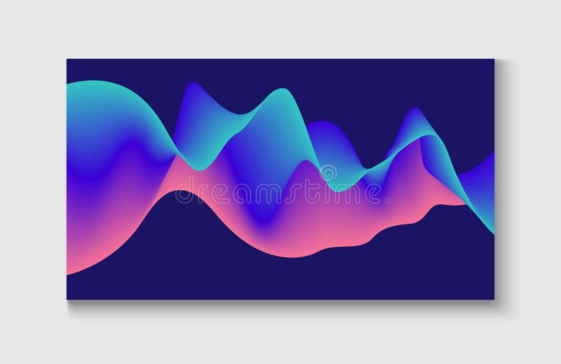 Bright Blue, Pink, Purple, Turquoise Fluid Horizontal Banner. Funky Music Sound Wave. stock illustration
