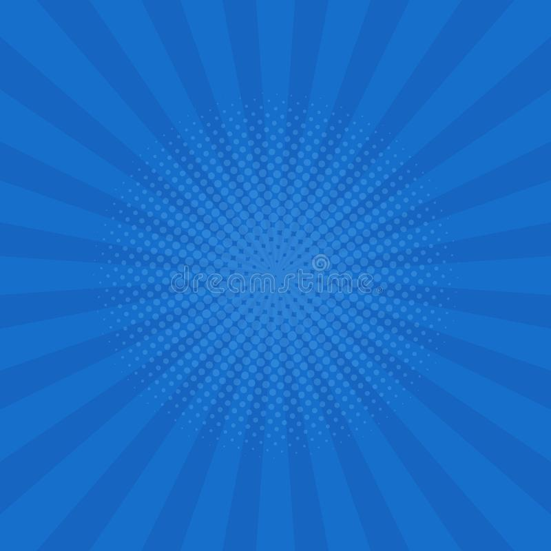 Bright blue rays background. Comics, pop art style. Vector. Illustration royalty free illustration